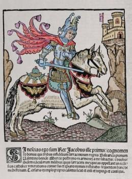 """JAIME I """"El Conquistador"""" (Montpellier,1208-Valencia,1276). Conde de Barcelona y rey de Arag?n (1213-1276), de Valencia (1239-1276) y de Mallorca (1229-1276). Grabado del rey en la obra """"AUREUM OPUS REGALIUM PRIVILEGIORUM CIVITATIS ET REGNI VALENTIAE CUM HISTORIA CRISTIANISSIMI REGIS IACOBI IPSUS PRIMI CONQUISTATORI"""" del notario valenciano Lu?s ALANYA. Editada en Valencia en el a?o 1515. Grabado coloreado. Biblioteca Universidad de Barcelona. Catalu?a."""